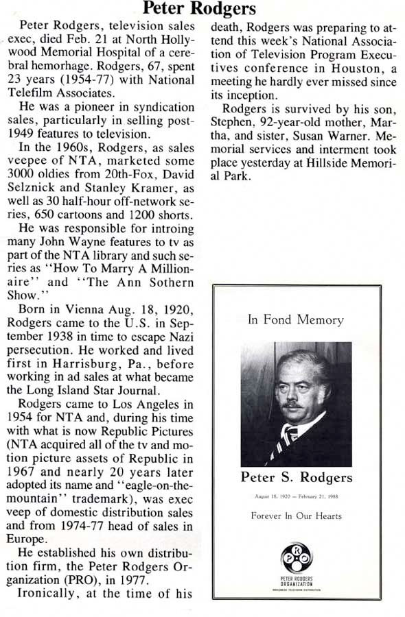 Peter Rodgers Obituary